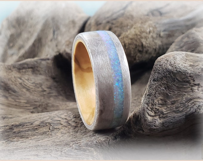 Bentwood Ring - Pewter Birdseye Maple w/offset Vanilla Opal inlay on Olivewood ring core