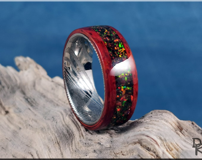 Bentwood Ring - Candy Striped Padauk w/Wild Cherry Opal inlay, on Damascus Steel ring core - Wood Ring