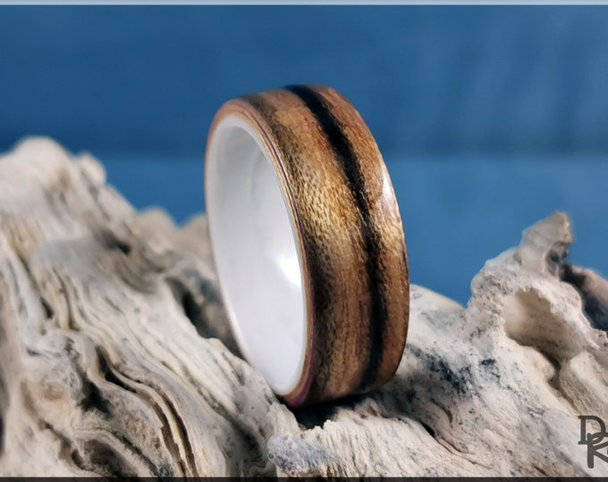 Bentwood Ring - Paldao Wood on Polished White Ceramic ring core