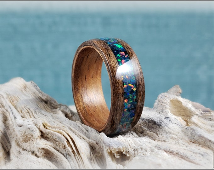 Dual Bentwood Ring - Louro Preto w/Space Blue Opal inlay, on bentwood Curly Etimoe ring core