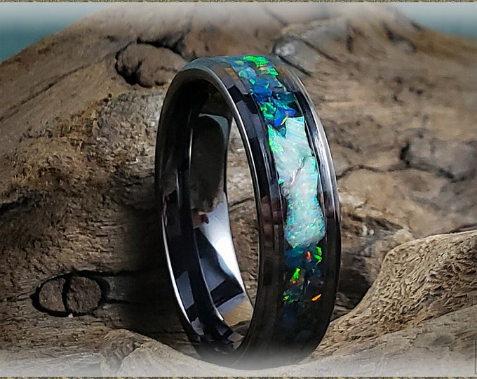 6mm Black Ceramic Channel Ring w/Black Emerald and Fire and Snow Opal chunk inlay