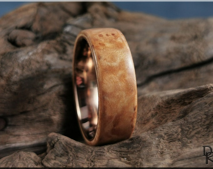 Bentwood Ring - Maple Burl on Copper ring core - Wood Ring