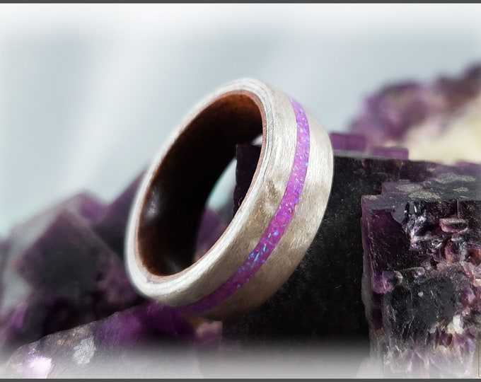 Bentwood Ring - Pewter Birdseye Maple w/offset Orchid opal inlay on Rosewood ring core