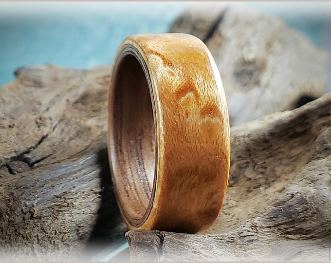 Dual Bentwood Ring - Canadian Birdseye Maple on Black Walnut Bentwood ring core