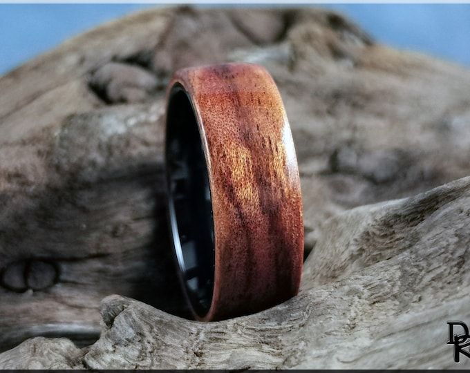 Bentwood Ring - Figured Camphor on polished black ceramic ring core - Wood Ring