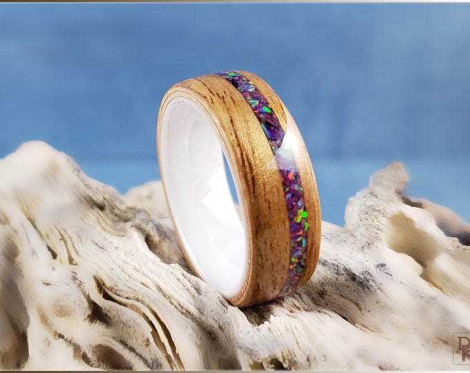 Bentwood Ring - Figured Camphor w/Royal Purple Opal inlay, on polished white ceramic ring core