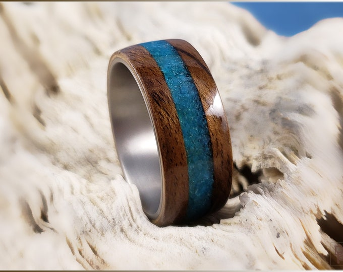 Bentwood Ring - Rustic French Walnut w/Steel Blue Glass inlay, on titanium ring core