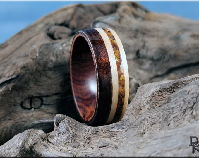 Bentwood Ring - Figured Etimoe and Maple w/Tiger's Eye inlay, on Ironwood ring core - Wood Ring