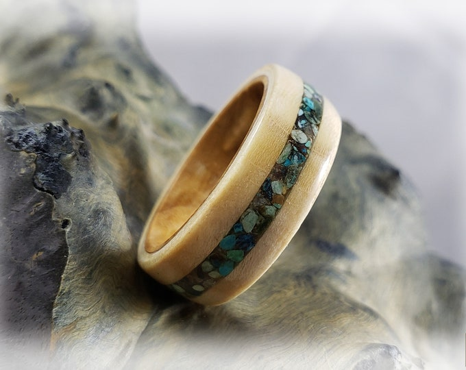Bentwood Ring - Rare Angel Step Sycamore w/Phoenix Turquoise stone inlay, on Olivewood ring core