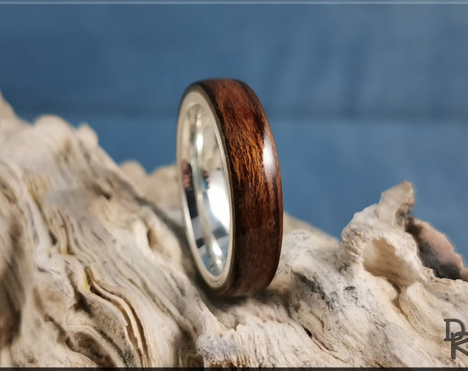 Bentwood Ring - Striped Teak on premium .925 Sterling Silver ring core