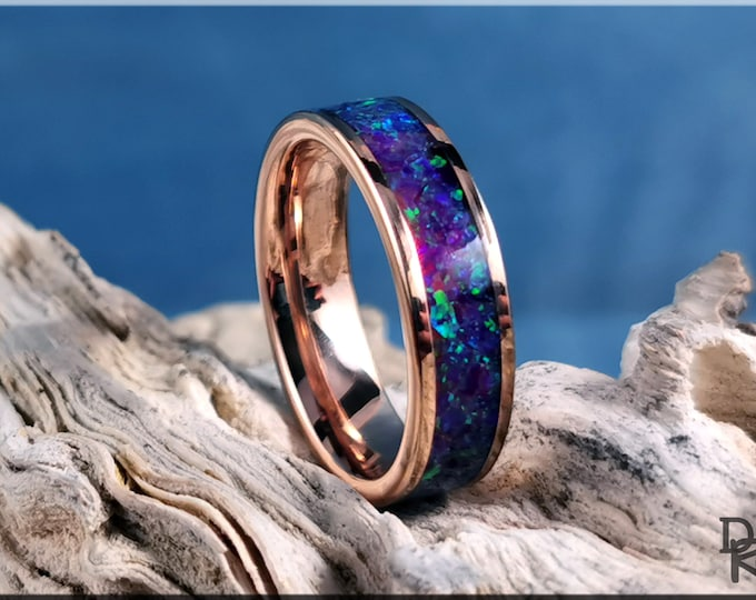 Rose Gold Plated Tungsten Carbide 6mm Channel Ring w/Amethyst Opal inlay