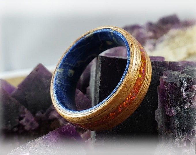 Bentwood Ring - Okoume w/Mexico Fire opal inlay, on Blue Box Elder core