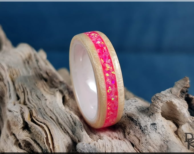 Bentwood Ring - Curly English Sycamore w/Pink Opal and Glow inlay, on white ceramic ring core
