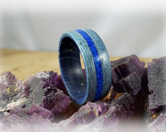 Bentwood Ring - Ice Blue Koto w/Sleepy Blue Opal inlay on Blue Box Elder ring core