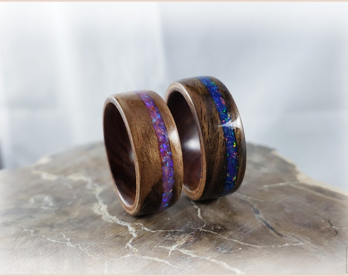 Bentwood Ring Set - 'RUSTIC SPARKLE' - Rustic French Walnut w/Opal inlays, on Ironwood ring cores