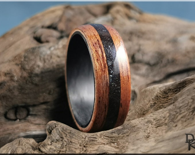 Bentwood Ring - Okoume w/Specular Hematite stone inlay, on Carbon Fiber inner core - Wood Ring