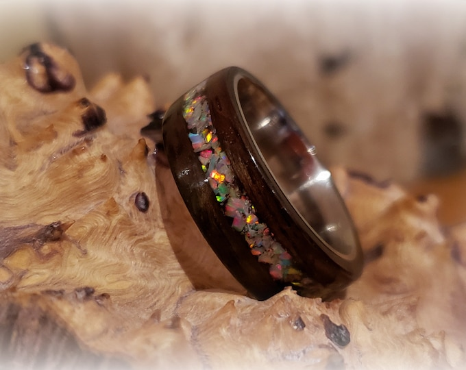Bentwood Ring - Macassar Ebony w/White Fire opal inlay on titanium ring core