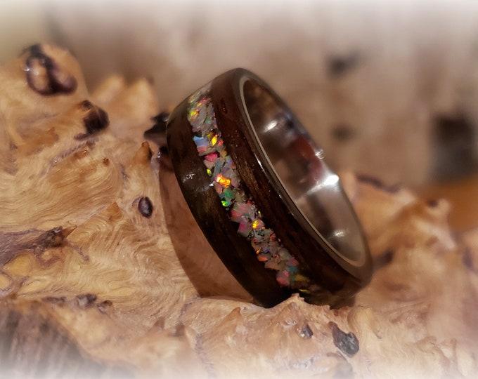 Bentwood Ring - Macassar Ebony w/White Fire opal inlay on titanium ring core