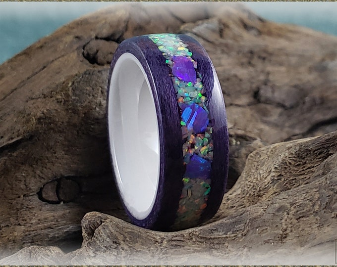 Bentwood Ring - Grape Soda Tulipwood w/Fire and Snow and triple Lavender chunk opal inlay, on polished white ceramic ring core