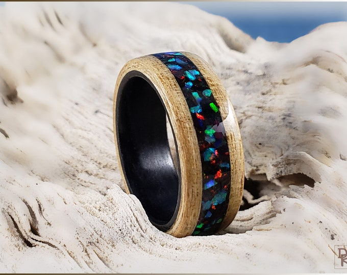 Dual Bentwood Ring - Japanese Ash w\House Blend Opal inlay, on Bentwood Black Tulipwood ring core