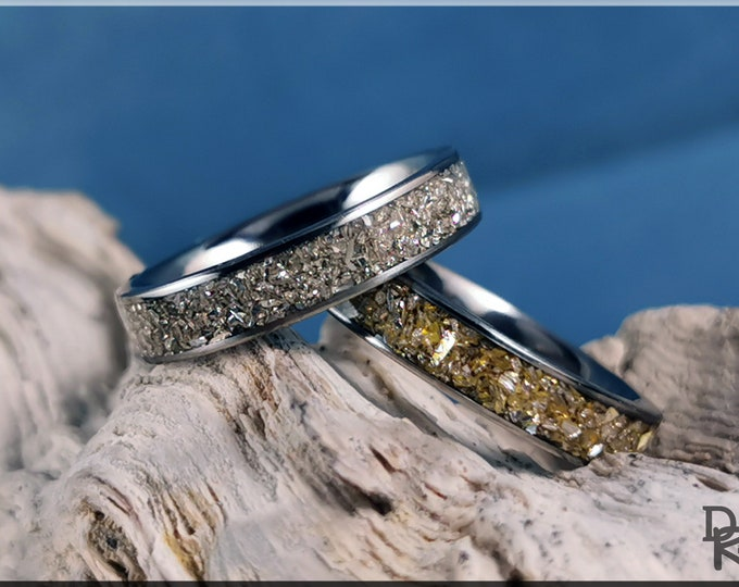 Titanium 4mm Stacking Channel Ring Set w/Gold and Silver Glass inlay