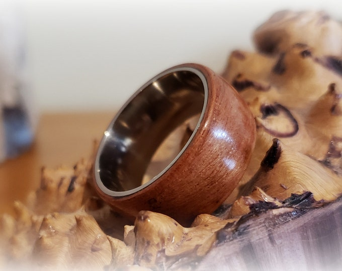 Bentwood Ring - Tineo (Indian Apple) - titanium ring core.