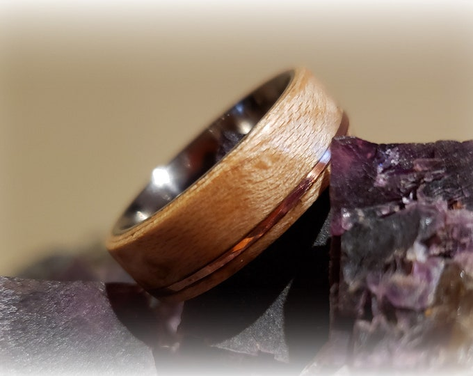 Bentwood Ring - Birdseye Maple w/ copper inlay on titanium core