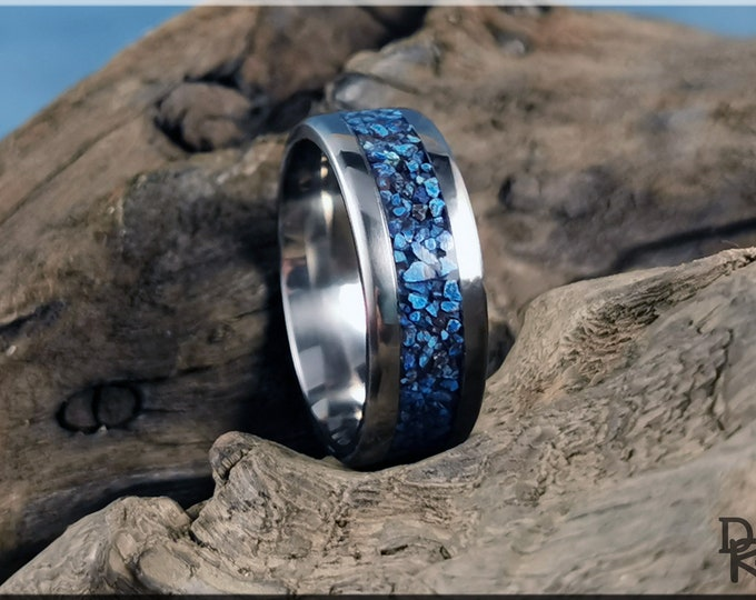 Titanium Channel Ring w/Shattuckite Stone inlay
