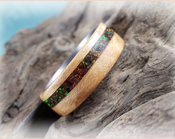 Bentwood Ring - Birdseye Maple w/Black Rainbow Opal inlay, on titanium core