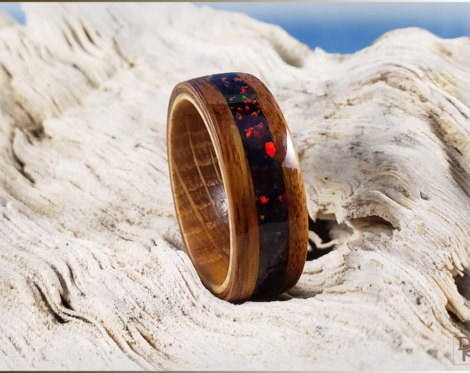 Bentwood Ring - Santos Rosewood w/Black Fire opal inlay, on Whisky Barrel ring core