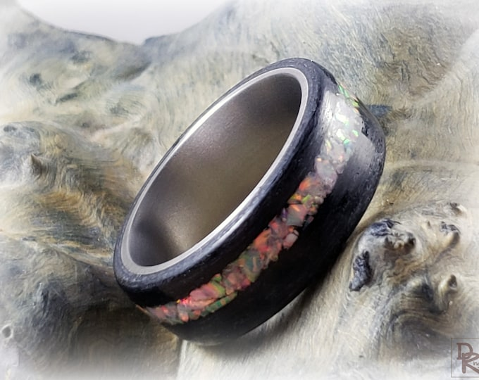 Bentwood Ring - Black Dyed Tulipwood w/offset Sun and Ice opal inlay, titanium ring core.