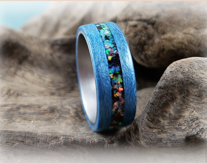 Bentwood Ring - Denim Blue Tulipwood w/House Blend Opal inlay on titanium ring core