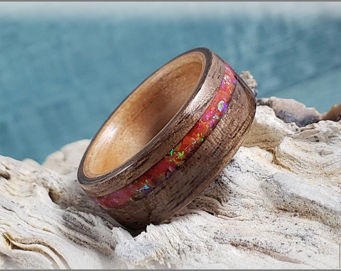 Dual Bentwood Ring - Curly Black Walnut w/Sleepy Fire Opal inlay, on bentwood Black Cherry ring core