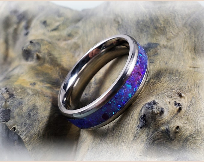6mm Titanium Channel Ring w/Opal inlay