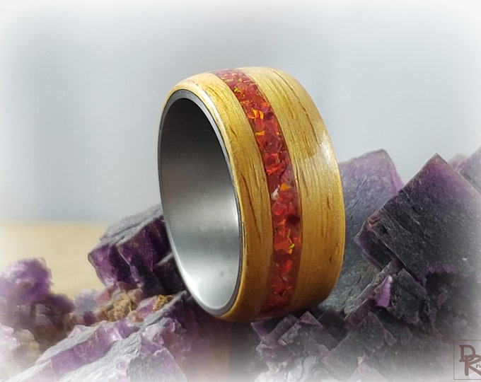 Bentwood Ring - Narra w/offset Ruby Red opal inlay  - titanium ring core.