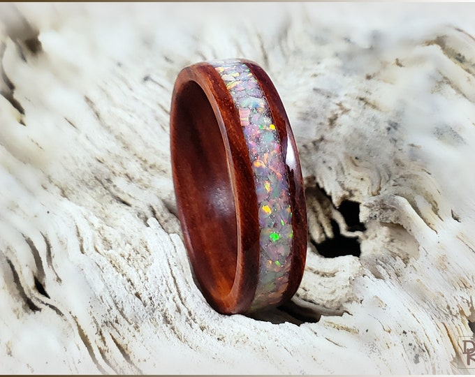 Sandalwood 6mm Wood Ring w/Sun and Ice Opal inlay