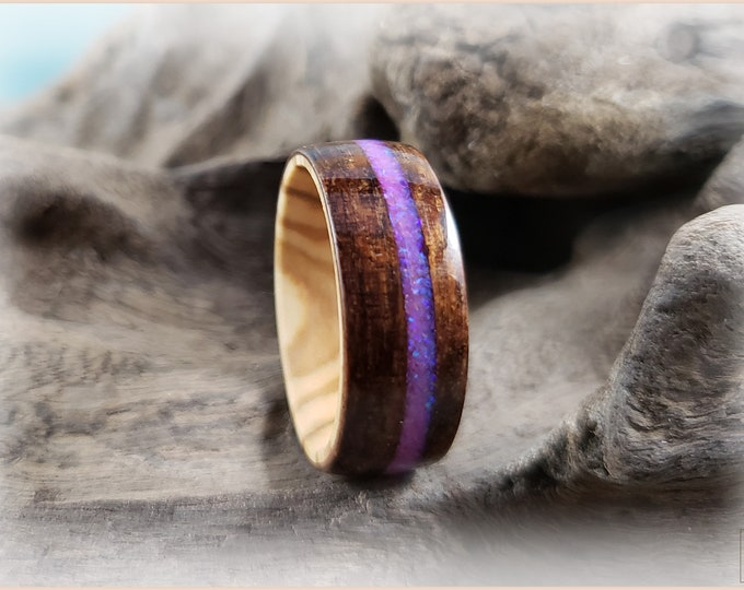 Bentwood Ring - Dark Hawaiian Koa w/Orchid Opal inlay, on Olivewood core