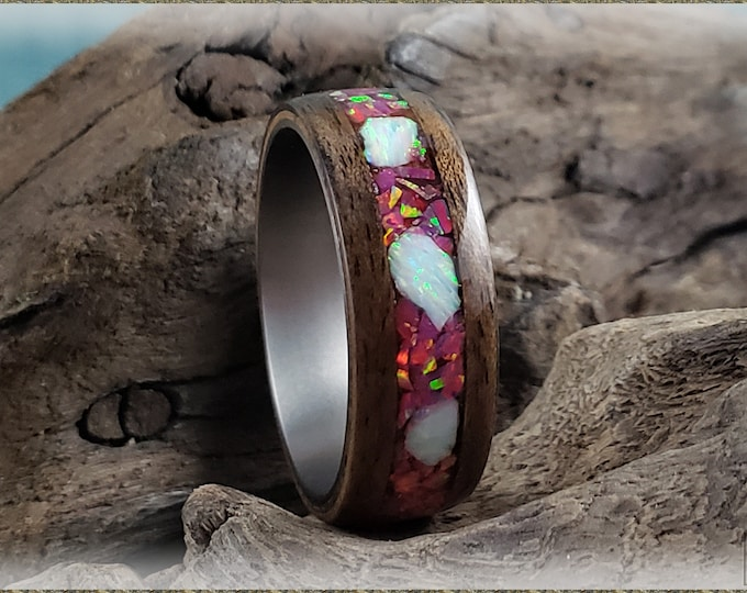 Bentwood Ring - Rustic French Walnut w/Carmine and Fire and Snow chunk opal blended inlay, on titanium ring core