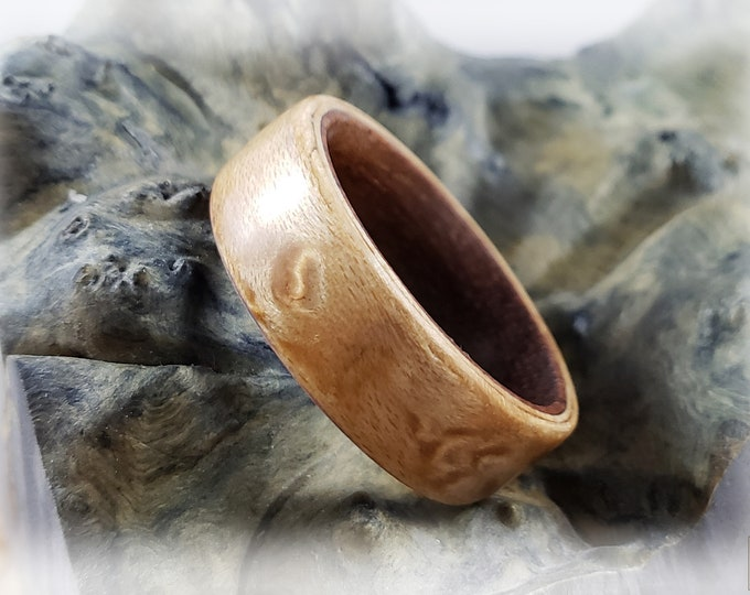 Bentwood Ring - Birdseye Maple on Rosewood ring core