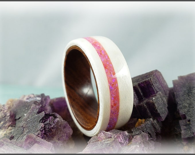 Bentwood Ring - Ice White Birdseye Maple w/offset Pink Sugar Opal inlay on Ironwood core