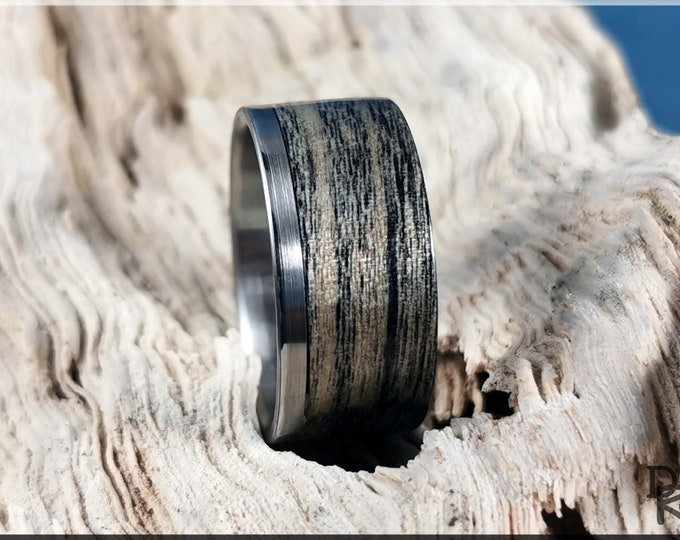 Bentwood Ring - Harborica on One Edge Stainless Steel ring core - Wood Ring