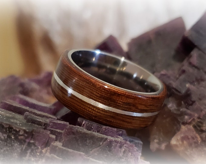Bentwood Ring - Rare Angelique w/.925 Sterling Silver inlay, titanium ring core.
