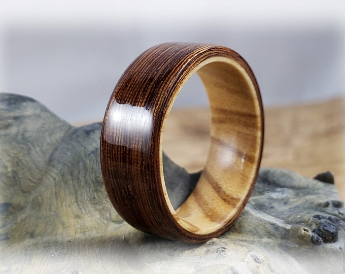 Bentwood Ring - Ipe on Olivewood ring core