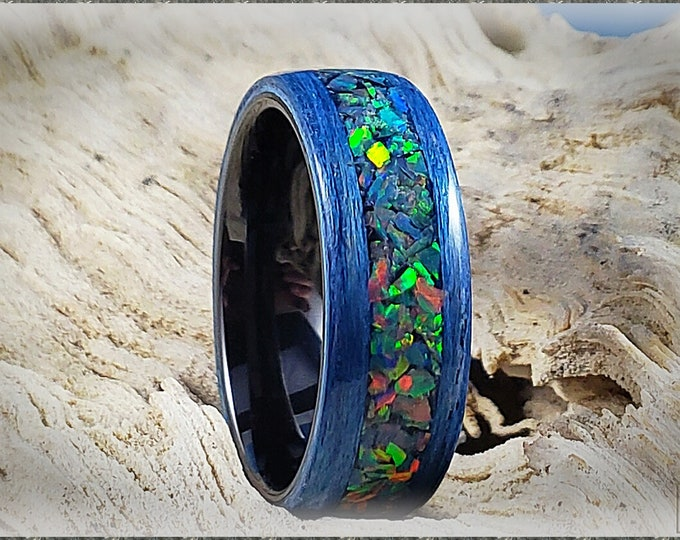 Bentwood Ring - Deep Blue Koto w/Royal Blue Grey Opal inlay, on polished black ceramic ring core