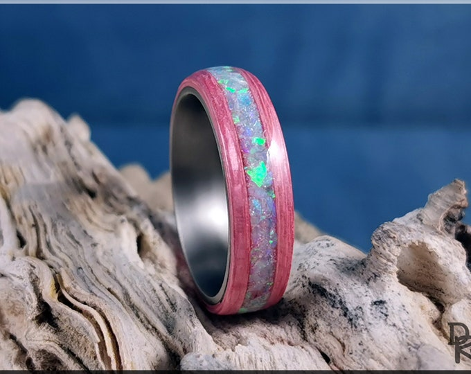 Bentwood Ring - Strawberry Koto w/Multi-Green Opal inlay, on titanium ring core