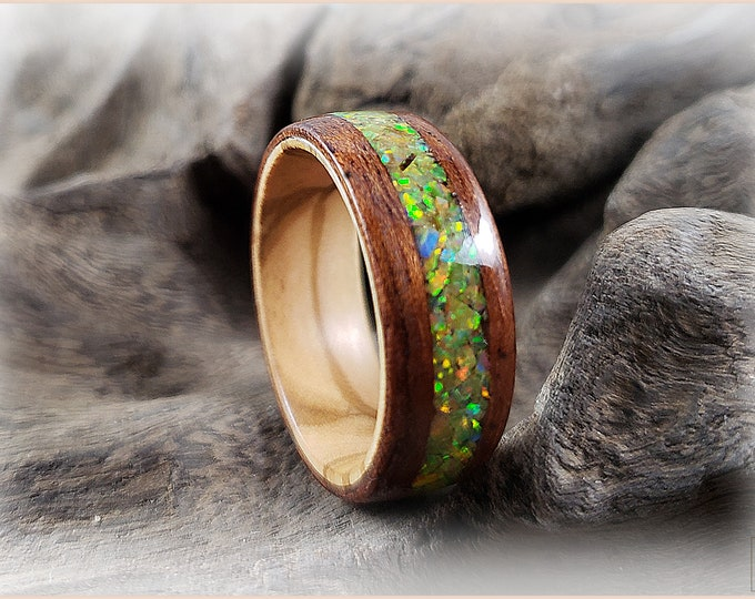 Bentwood Ring - Figured Etimoe w/Multi Olive Opal inlay, on Olivewood ring core