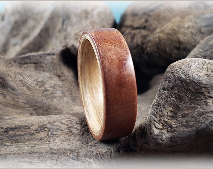 Dual Bentwood Ring - Madrona Burl on Bentwood Hickory ring core