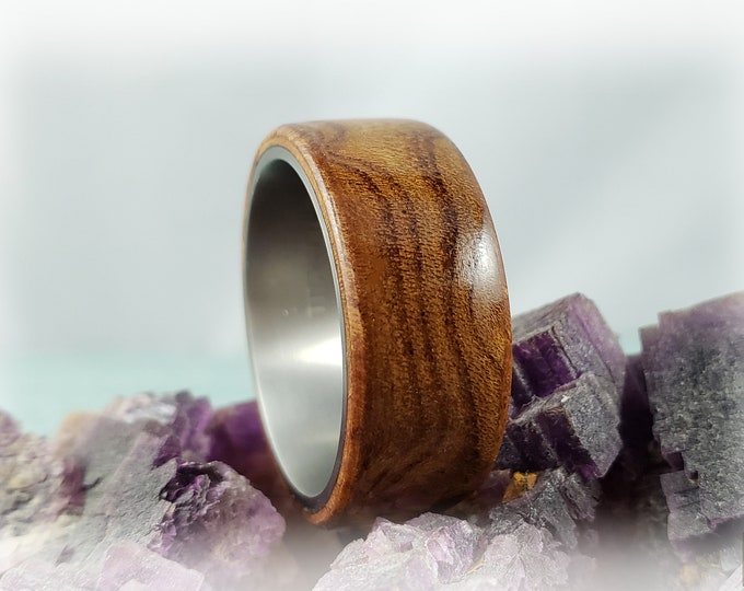 Bentwood Ring - Rare Carpathian Elm Burl on titanium core