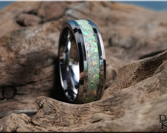 Tungsten Carbide Channel Ring w/Mercury Opal inlay