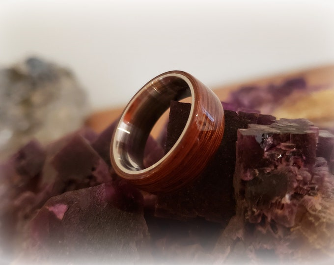 Bentwood Ring - Rare Angelique - Size 8 on 8mm titanium ring core